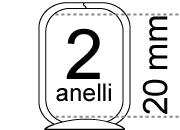 legatoria Meccanismo rettangolare a 2 anelli, contiene fino a 20mm A SERPENTINA. Lunghezza totale del meccanismo 133mm, interasse degli anelli 80mm, capacità degli anelli 20mm, interasse fori di fissaggio 122mm, diametro dei fori 4,2mm, larghezza della base 20mm, larghezza totale 24mm, altezza totale 30mm, Diametro filo 3,4mm.