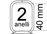 legatoria Meccanismo rettangolare a 2 anelli, contiene fino a 40mm A PIASTRA. Lunghezza totale del meccanismo 133mm, interasse degli anelli 80mm, capacità degli anelli 40mm, interasse fori di fissaggio 122mm, diametro dei fori 4,2mm, larghezza della base 26mm, larghezza totale 31mm, altezza totale 53mm, diametro filo 3,9mm.