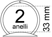 legatoria Meccanismo rotondo a 2 anelli. contiene fino a 33mm A PIASTRE. Lunghezza totale del meccanismo 132mm, interasse degli anelli 80mm, capacità degli anelli 33mm, interasse fori di fissaggio 122mm, diametro dei fori 4,2mm, larghezza della base 26mm, larghezza totale 44mm, altezza totale 45mm, diametro filo 3,9mm.