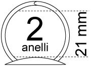 legatoria Meccanismo rotondo a 2 anelli, contiene fino a 21mm A PIASTRE. Lunghezza totale del meccanismo 123mm, interasse degli anelli 80mm, capacità degli anelli 21mm, interasse fori di fissaggio 114mm, diametro dei fori 4,2mm, larghezza della base 20mm, larghezza totale 30mm, altezza totale 30mm, Diametro filo 2,9mm.