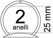 legatoria Meccanismo rotondo a 2 anelli, contiene fino a 25mm A PIASTRA .Lunghezza totale del meccanismo 123mm, interasse degli anelli 80mm, capacità degli anelli 25mm, interasse fori di fissaggio 114mm, diametro dei fori 4,2mm, larghezza della base 20mm, larghezza totale 34mm, altezza totale 36mm, Diametro filo 3,3mm.