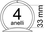 legatoria Meccanismo rotondo a 4 anelli . contiene fino a 33mm A PIASTRE. Lunghezza totale del meccanismo 285mm, interasse degli anelli 80mm, capacità degli anelli fino a spessore di 33mm, interasse dei fori 275mm, diametro dei fori 4,2mm, larghezza della base 26mm, larghezza totale 44mm, altezza totale 45mm, diametro filo 3,9mm.