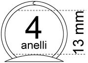 legatoria Meccanismo rotondo a 4 anelli. contiene fino a 13mm A SERPENTINA. Lunghezza totale del meccanismo 273mm, interasse degli anelli 80mm, capacità degli anelli fino a spessore di 11mm, interasse dei fori 265mm, diametro dei fori 4,2mm, larghezza della base 15mm, larghezza totale 19mm, altezza totale 19mm, diametro filo 2,3mm.
