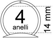 legatoria Meccanismo rotondo a 4 anelli . contiene fino a 14mm A PIASTRE. Lunghezza totale del meccanismo 282mm, interasse degli anelli 80mm, capacità degli anelli fino a spessore di 14mm, interasse dei fori 275mm, diametro dei fori 4,2mm, larghezza della base 17mm, larghezza totale 23m, altezza totale 25mm, diametro filo 2,7mm.