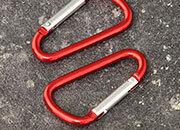 legatoria Moschettone 48mm ROSSO, in alluminio. Diametro esterno 48mm, spessore 3.8mm. Non adatto per arrampicate.