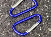legatoria Moschettone 48mm BLU, in alluminio. Diametro esterno 48mm, spessore 3.8mm. Non adatto per arrampicate.