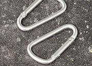 legatoria Moschettone 48mm ARGENTO, in alluminio. Diametro esterno 48mm, spessore 3.8mm. Non adatto per arrampicate.