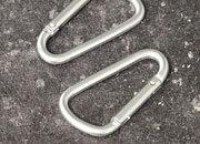 legatoria Moschettone 75mm ARGENTO, in alluminio. Diametro esterno 75mm, spessore 7mm. Non adatto per arrampicate.