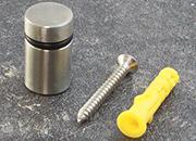 legatoria Distanziatore inox 20mm, diametro 20mm In acciaio inossidabile, diametro 20 mm, distanza dal muro 20 mm, adatti per pannelli di spessore compreso tra 2-15 mm.