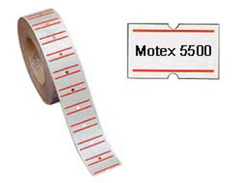 gbc Etichette 21x12 per prezzatrice BIANCO con righe rosse, adesivo PERMANENTE, per prezzatrice Sirio 2008, Motex 3300, Motex 5500, Lebez 200, Towa GS a 1 banda, Towa GM.