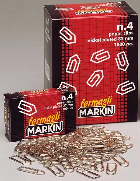 acco Fermagli zincati Markin n° 5,  mm 50 punta arrotondata scatola da 100 fermagli.