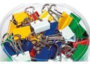 molholeone Molle fermacarte double clip, colorate, 32mm,  in acciaio, binder clip, con archetti mobili, assortite nei colori grigio, rosso verde, blu, giallo.
