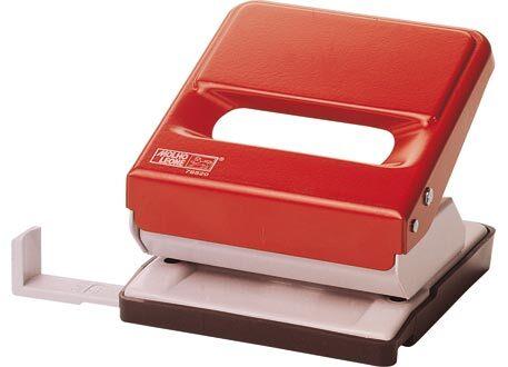 molholeone Perforatore Leone 520, 2 fori ROSSO, fora fino a 30 fogli (3mm), squadra regolabile per i formati A4, A5, A6 e 888 (4 fori sul formato A4 eseguiti in 2 passaggi).