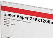 carta Cartoncino Banner Oki, 215x1200mm Bianco, formato 21,5x120cm (120x21,5cm), 170grammi x mq, Carta fotografica patinata lucida ad alta risoluzione per stampe digitali a colori.