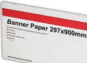 carta Cartoncino Banner Oki, 297x900mm Bianco, formato 29,7x90cm (90x29,7cm), 170grammi x mq. OKI09300624. Carta fotografica patinata lucida ad alta risoluzione per stampe digitali a colori.