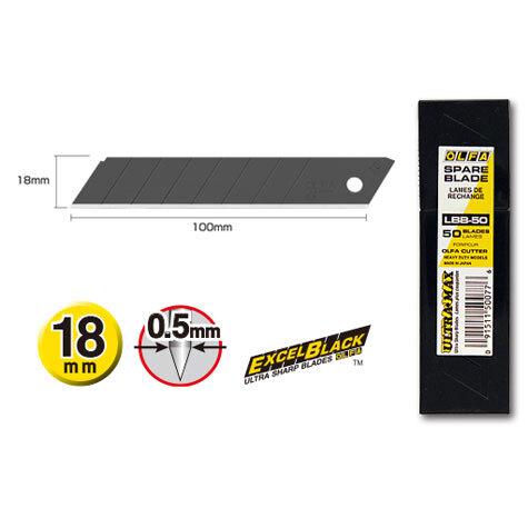 gbc Lama di ricambio brunita Olfa Excel Black LBB-10 altezza: 18mm, lunghezza: 100mm, spessore: 0,5mm. Usando il test di taglio carta Honda (ISO 8442.5), la lama LBB permette un numero di tagli pari a 165; una lama Olfa tradizionale 140. Una lama standard ne garantisce 97 prima che il tagliente diventi inutilizzabile. In scatola contenente 10 lamette con 7 settori tranciabili. Compatibile con cutter PL-1, L-1, L-2, L-3, OL, FL, CL, ML, SL-1, EXL, XL-2, BN-L, BN-AL, NOL-1, NL-AL, CMP-2, L5-AL, L-5, DL-1, L-1-green, L-6, L6-AL. Prodotto originale giapponese, MADE IN JAPAN.