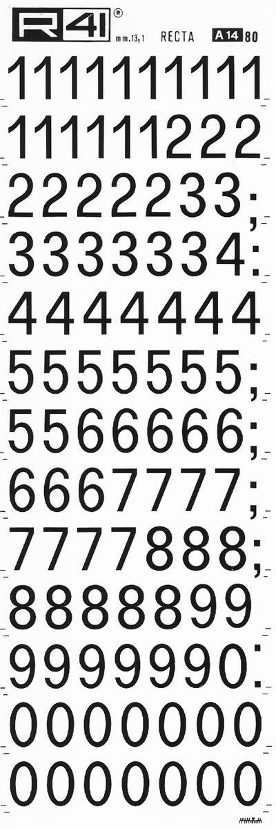 trasferibilir41 13,1mm, NERO. Trasferelli-Trasferibili R41 in fogli 9x25cm. Numeri  Recta A p. 112 Carattere di tipo