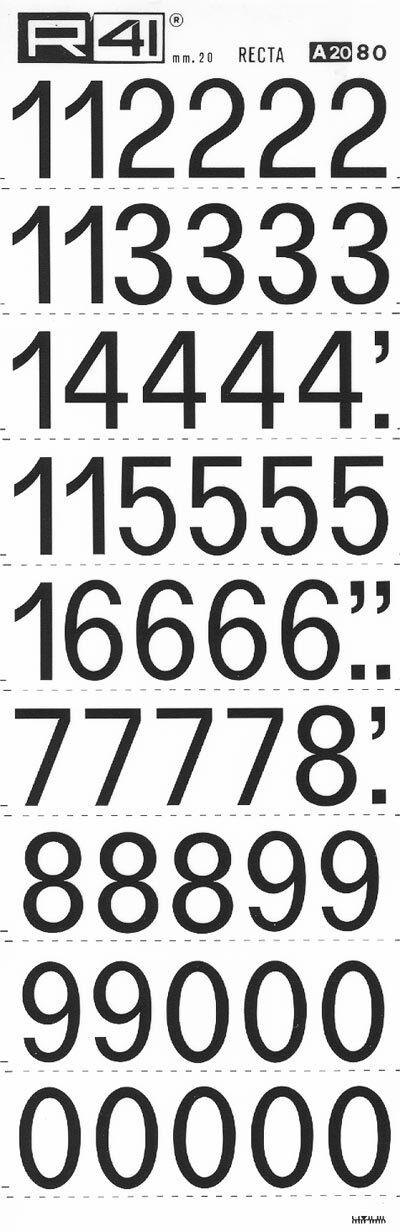 trasferibilir41 19,8mm, NERO. Trasferelli-Trasferibili R41 in fogli 9x25cm. Numeri  Recta A p. 112 Carattere di tipo