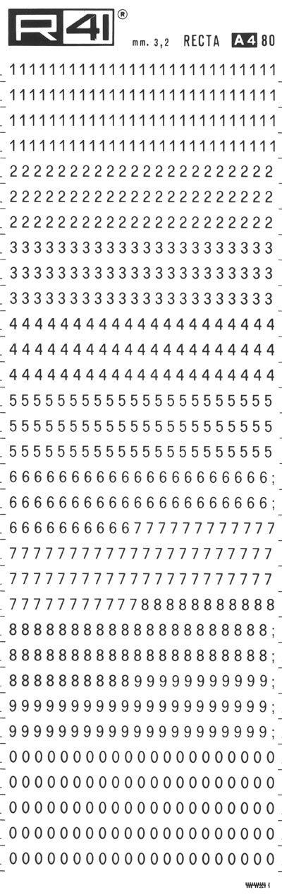 trasferibilir41 3,2mm, NERO. Trasferelli-Trasferibili R41 in fogli 9x25cm. Numeri  Recta A p. 112 Carattere di tipo