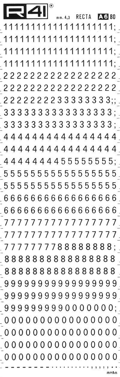 trasferibilir41 4,3mm, NERO. Trasferelli-Trasferibili R41 in fogli 9x25cm. Numeri  Recta A p. 112 Carattere di tipo