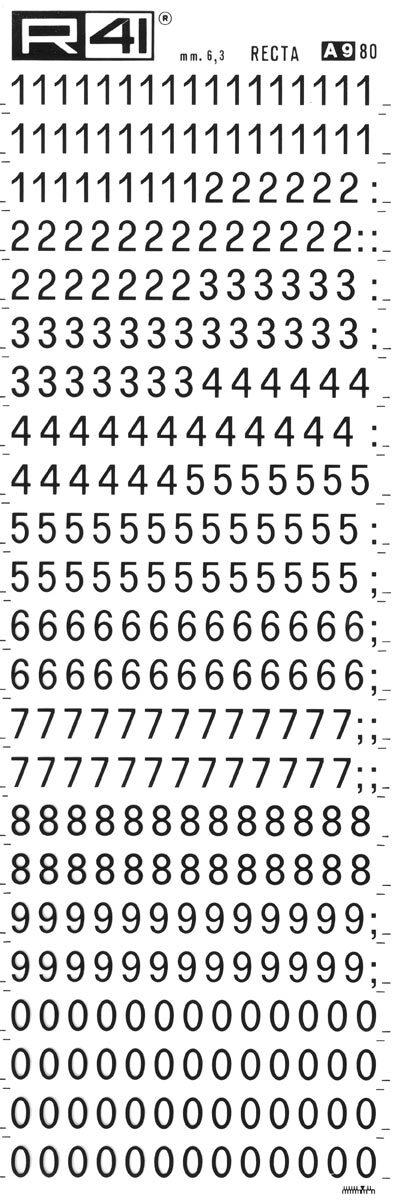 trasferibilir41 6,3mm, NERO. Trasferelli-Trasferibili R41 in fogli 9x25cm. Numeri  Recta A p. 112 Carattere di tipo