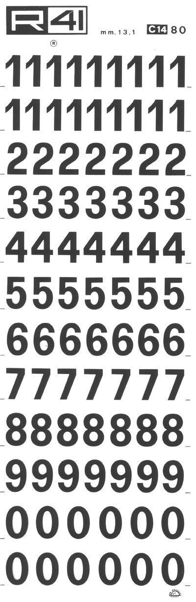 trasferibilir41 13,1mm, NERO. Trasferelli-Trasferibili R41 in fogli 9x25cm. Numeri  Recta C p. 113 Un'ulteriore serie della ricchissima famiglia Recta. Più