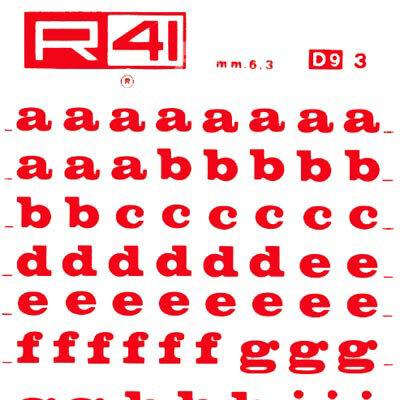 trasferibilir41 6,3mm, ROSSO. Trasferelli-Trasferibili R41 in fogli 9x25cm. Lettere Minuscole Volta D p. 113 Carattere di tipo