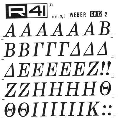 trasferibilir41 9,5mm, NERO. Trasferelli-Trasferibili R41 in fogli 9x25cm. Lettere Maiuscole Weber GH (greco) p. 161 P. 161.