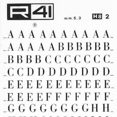 """trasferibilir41 5,3mm, NERO. Trasferelli-Trasferibili R41 in fogli 9x25cm. Lettere Maiuscole Bodoni p. 118 Fa parte della numerosissima serie di caratteri """"bodoniani"""" creata, in epoca neoclassica, dal celebre disegnatore Gianbattista Bodoni. Rimase per più di un secolo il carattere ufficiale , dal quale vennero ideate un'infinita quantità di variazioni; non ultima quella definita """"bodoni campanile"""". Ha un ottima leggibilità e, nella forma, alterna con gusto sapiente, il filo al corpo della lettera, denunciando la sua origine classica. P. 118."""