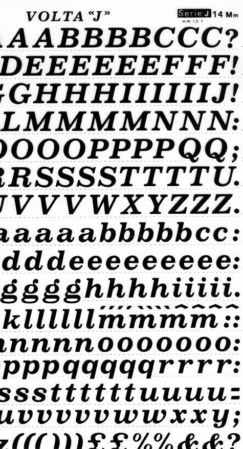 trasferibilir41 13,1mm, NERO. Trasferelli-Trasferibili R41 in fogli 25x35cm. Lettere Maiuscole e minuscole Volta J p. 116 E' la versione corsiva del Volta D dal quale si differenzia per maggiore grazia ed eleganza. Trattandosi di un carattere corsivo e bene usarlo con parsimonia nella composizione per non dare la sensazione di una composizione inclinata.. P. 116.