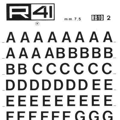 trasferibilir41 7,5mm, NERO. Trasferelli-Trasferibili R41 in fogli 9x25cm. Lettere Maiuscole Helvetica RB p. 126 E' da considerarsi un'elaborazione abbastanza recente del
