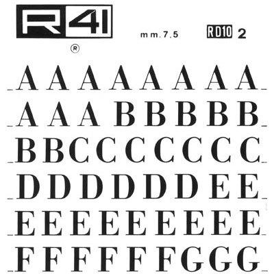 trasferibilir41 7,5mm, NERO. Trasferelli-Trasferibili R41 in fogli 9x25cm. Lettere Maiuscole Bodoni RD p. 127 Fa parte della numerosissima serie di caratteri