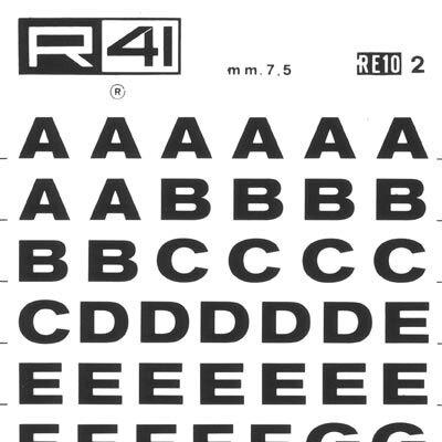 trasferibilir41 7,5mm, NERO. Trasferelli-Trasferibili R41 in fogli 9x25cm. Lettere Maiuscole Grotesk RE p. 128 Appartiene alla serie dei