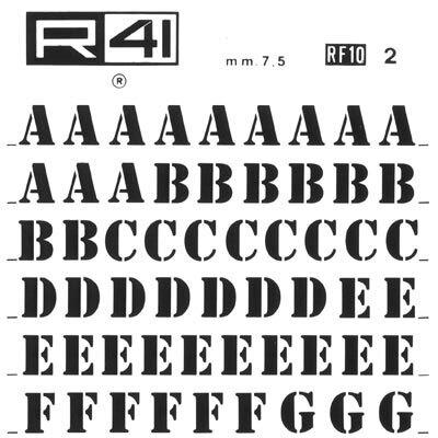 trasferibilir41 7,5mm, NERO. Trasferelli-Trasferibili R41 in fogli 9x25cm. Lettere Maiuscole Stencil RF p. 129 Ispirato dalle mascherine che si usano per stampigliare a mano le scritte sugli imballi, con particolari inchiostri. Questo carattere ha una sua particolare efficacia e consegue ben definiti risultati grafici nelle composizioni. Ovviamente, per non togliere nulla alla sua efficacia sarà bene non accostargli caratteri