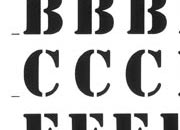 trasferibilir41 9,5mm, NERO. Trasferelli-Trasferibili R41 in fogli 9x25cm. Lettere Maiuscole Stencil RF p. 129 R41LNRF122n.