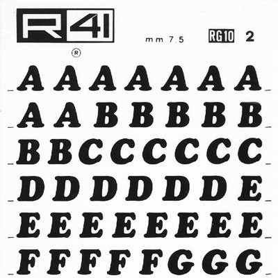 trasferibilir41 7,5mm, NERO. Trasferelli-Trasferibili R41 in fogli 9x25cm. Lettere Maiuscole Cooper Black RG p. 130 Caratteri di origine