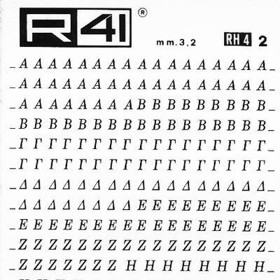 trasferibilir41 3,2mm, NERO. Trasferelli-Trasferibili R41 in fogli 9x25cm. Lettere Maiuscole Weber RH p. 161 P. 161.