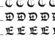 trasferibilir41 5,3mm, NERO. Trasferelli-Trasferibili R41 in fogli 9x25cm. Lettere Maiuscole Gotico RN p. 133 Appartiene alla schiera dei caratteri medioevali che in quell'epoca ebbero nel Nord Europa i maggiori centri di elaborazione e diffusione. Con il gotico