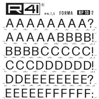 trasferibilir41 7,5mm, NERO. Trasferelli-Trasferibili R41 in fogli 9x25cm. Lettere Maiuscole Forma RP p. 135 Serie tonda