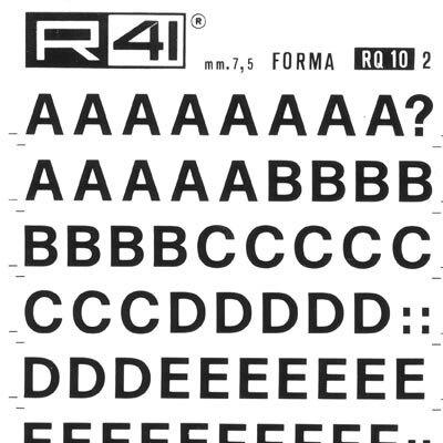 trasferibilir41 7,5mm, NERO. Trasferelli-Trasferibili R41 in fogli 9x25cm. Lettere Maiuscole Forma RQ p. 136 Serie tonda .