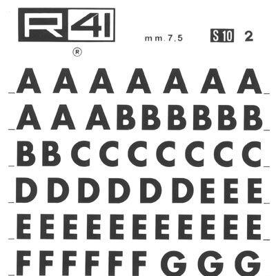 trasferibilir41 7,5mm, NERO. Trasferelli-Trasferibili R41 in fogli 9x25cm. Lettere Maiuscole Futura S p. 122 Disegnato da Paul Repner nel 1927 che ha riproposto l'uso dei caratteri