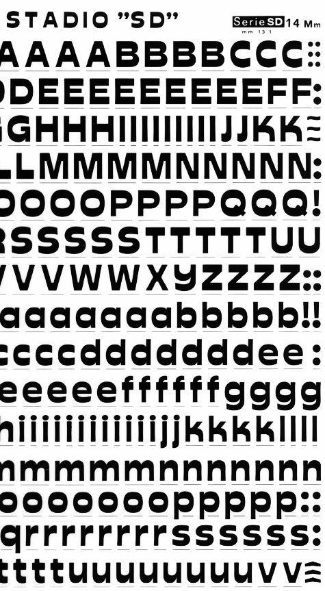 trasferibilir41 13,1mm, NERO. Trasferelli-Trasferibili R41 in fogli 25x35cm. Lettere Maiuscole e minuscole Stadio SD p. 144 Carattere stile italico-lineare a lettere larghe adatto alla grafica estrosamente vistosa dai tratti orizzontali marcati e appariscenti. La lettura è facilitata dal naturale scorrimento visuale creando ornamento alla parola.. P. 144.