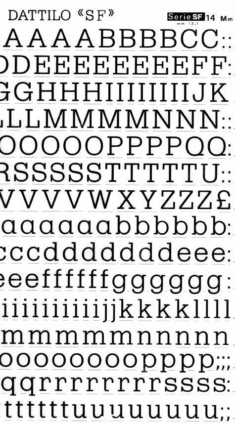 trasferibilir41 13,1mm, NERO. Trasferelli-Trasferibili R41 in fogli 25x35cm. Lettere Maiuscole e minuscole Dattilo SF p. 146 Moderna interpetazione di un egiziano disegnato ad aste filiformi senza contrasto. Il minuscolo è stato alzato a confronto del maiuscolo per ottenere maggiore compattezza nella lettura sobria e distintamente geometrica.. P. 146.