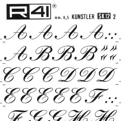 trasferibilir41 9,5mm, NERO. Trasferelli-Trasferibili R41 in fogli 9x25cm. Lettere Maiuscole Kunstler SK p. 150 P. 150.