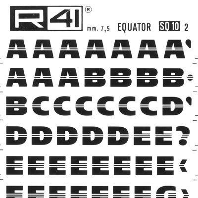 trasferibilir41 7,5mm, NERO. Trasferelli-Trasferibili R41 in fogli 9x25cm. Lettere Maiuscole Equator SQ p. 155 Carattere lineare di grande effetto grafico. I filetti centrati danno una grande scorrevolezza e legamento ottico fra le lettere, facilitando la lettura maiuscola. Adatto per comporre marchi, titoli, testate e composizioni originali.. P. 155.