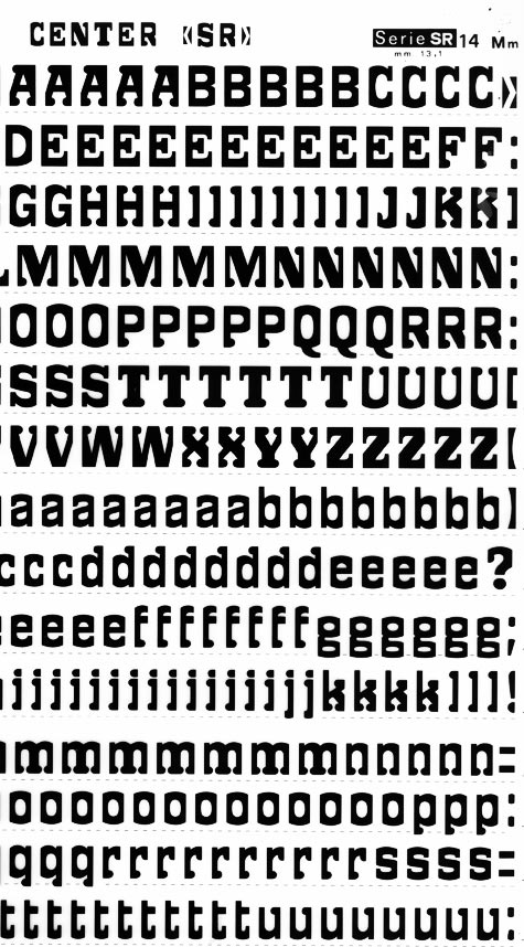 trasferibilir41 13,1mm, NERO. Trasferelli-Trasferibili R41 in fogli 25x35cm. Lettere Maiuscole e minuscole Center SR p. 156 Tipico ed unico esempio di alfabeto fantasia selezionato centralmente. La lettura si concentra nel vivo della lettera scoprendo il messaggio grafico come gioco fantasioso e attraente.. P. 156.