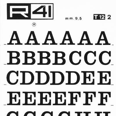 """trasferibilir41 9,5mm, NERO. Trasferelli-Trasferibili R41 in fogli 9x25cm. Lettere Maiuscole Egizio T p. 122 Fa parte delle elaborazioni dei caratteri di tipo """"Egiziano"""" della serie tonda neretta. È altresì noto con il nome di """"Clarendon"""" (nome del fondatore della tipografia universitaria di Oxford nel 1585) ed ha elementi di particolare grazia ed eleganza. Ha una buona leggibilità soprattutto nelle composizioni maiuscole e minuscole.. P. 122."""