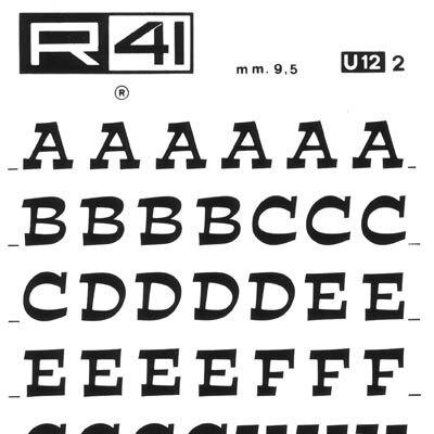 trasferibilir41 9,5mm, NERO. Trasferelli-Trasferibili R41 in fogli 9x25cm. Lettere Maiuscole Estro U p. 123 Carattere di recente creazione dalla Fonderia Nebbiolo di Torino, ideato e disegnato da A. Novarese nel 1961. Fa parte dei caratteri