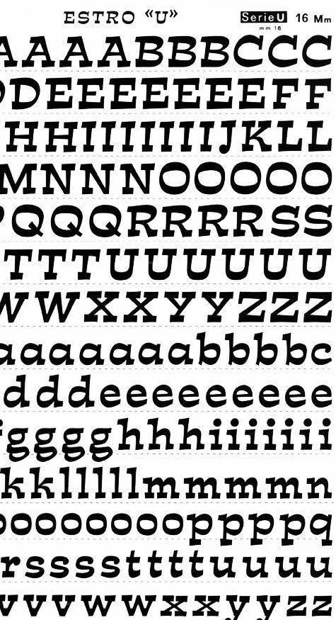 trasferibilir41 16mm, NERO. Trasferelli-Trasferibili R41 in fogli 25x35cm. Lettere Maiuscole e minuscole Estro U p. 123 Carattere di recente creazione dalla Fonderia Nebbiolo di Torino, ideato e disegnato da A. Novarese nel 1961. Fa parte dei caratteri