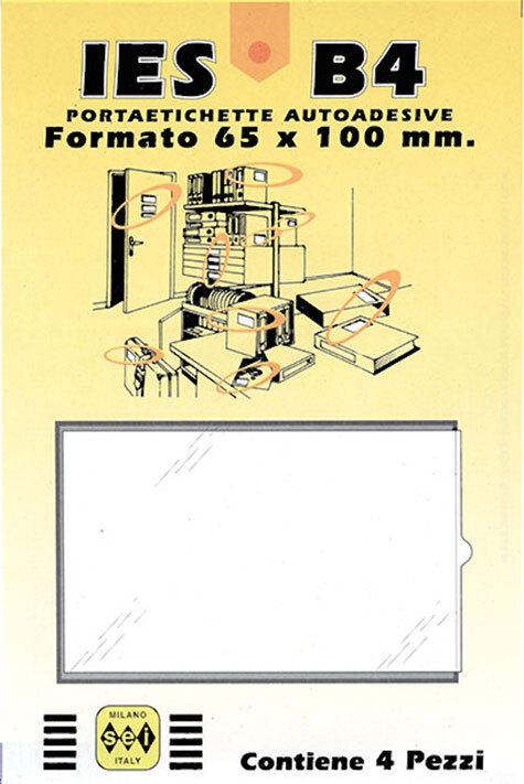 gbc Portaetichette adesive ies b4 sei, 65x100mm Portaetichetta autoadesiva in plastica semirigida con finestrino trasparente ed etichetta in cartoncino intercambiabile..
